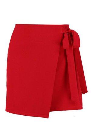 Wrap Tie Front Woven Mini Skirt | Boohoo