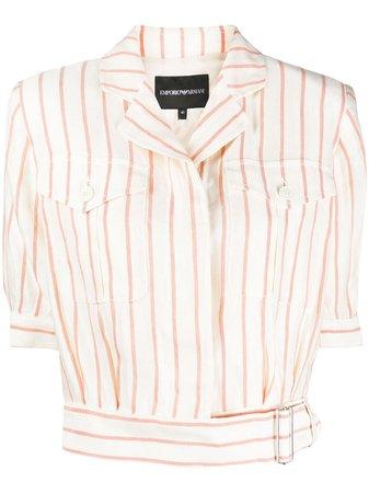 Emporio Armani Striped Cropped Shirt Ss20 | Farfetch.com