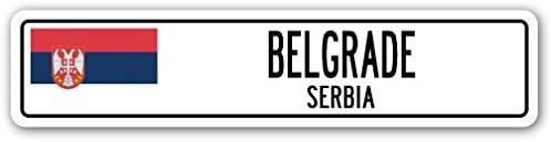 Amazon.com: Belgrad, Serbien Straßenschild Serbische Montenegrinische Flagge City Land Wand Geschenk: Office Products