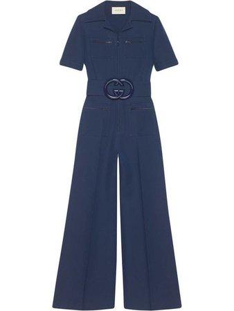 Blue Gucci Wool Silk Belted Jumpsuit | Farfetch.com