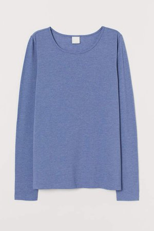 Long-sleeved Jersey Top - Blue