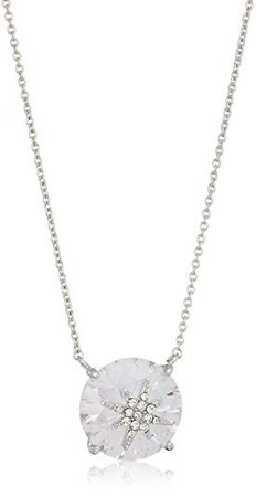 "Betsey Johnson ""Betsey Blue"" cubic zirconia stone pave star silver pendant necklace: Clothing"