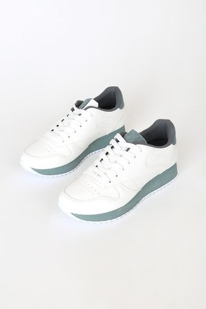 White and Mint Sneakers - Lace-Up Sneakers - Faux Sneakers - Lulus