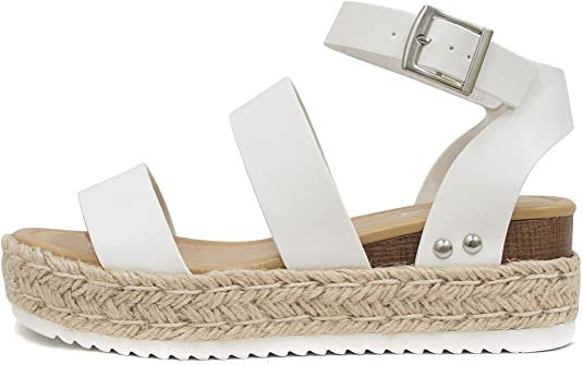 Amazon.com | Soda Womens VALETT Open Toe Casual Ankle Strap Sandals | Platforms & Wedges