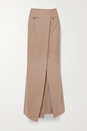 Draped Asymmetric Wool Maxi Skirt - Beige
