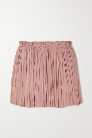 Antigone Draped Silk-tulle Mini Skirt - Neutral