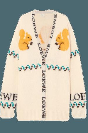 LOEWE Intarsia mohair-blend cardigan