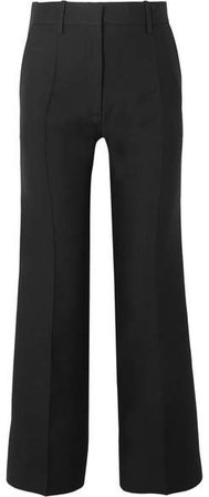 Wool And Silk-blend Straight-leg Pants - Black