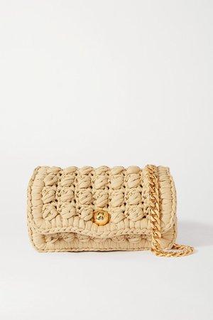 Crocheted Cotton-blend Shoulder Bag - Beige