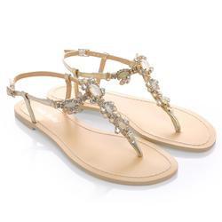 Luna Gold Jeweled Wedding Sandal | Bella Belle Shoes