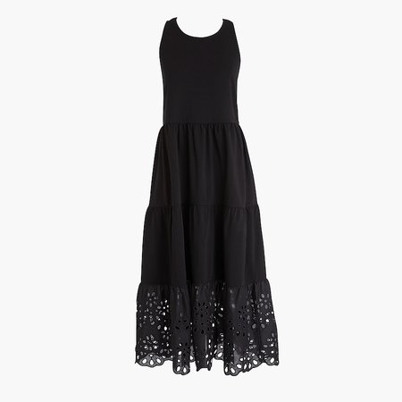 J.Crew: Tiered Knit Maxi Dress With Eyelet Trim For Women black