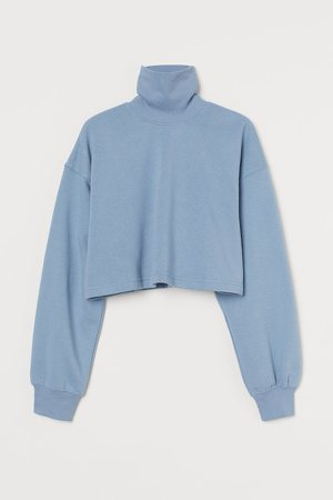 Cropped Turtleneck Sweatshirt - Blue