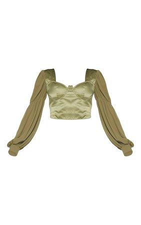 Khaki Satin V-Wire Sheer Sleeve Cropped Blouse | PrettyLittleThing