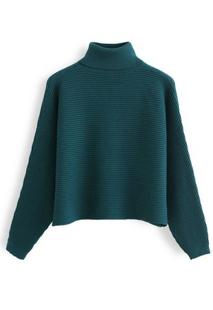 Basic Rib Knit Cowl Neck Crop Sweater in Dark Green - Retro, Indie and Unique Fashion