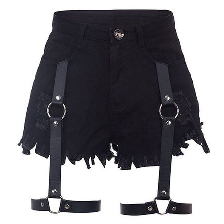High Waist Denim Cutoffs With Leather Garter-BLACK