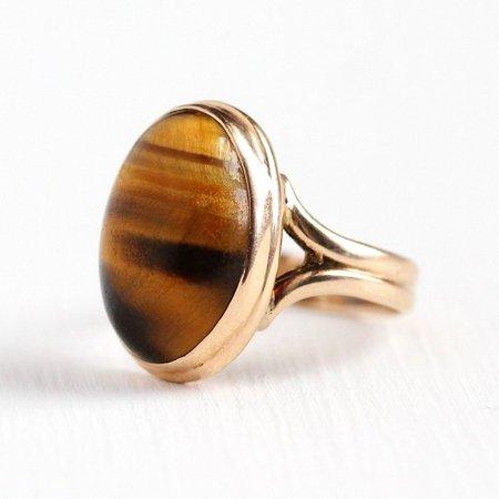 Sale Tiger's Eye Ring 1900s Antique Edwardian 10k Rose   Etsy