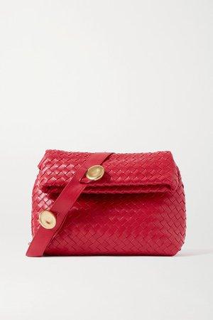 Intrecciato Leather Shoulder Bag - Red