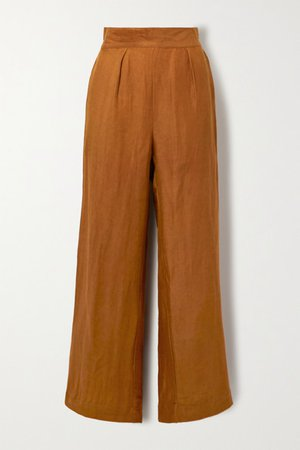 The Keaton Linen And Cupro-blend Wide-leg Pants - Orange