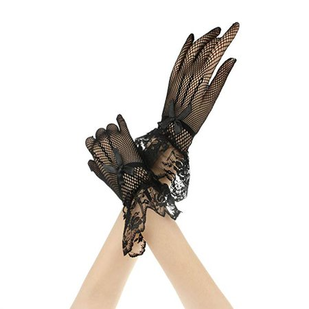 Amazon.com: Women's Elegant Stretch Net Yarn Formal Banquet Bridal Gloves Floral Lace Ruffle: Home & Kitchen