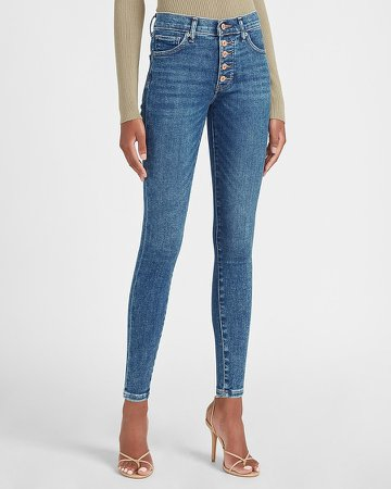 Mid Rise Exposed Button Fly Skinny Jeans