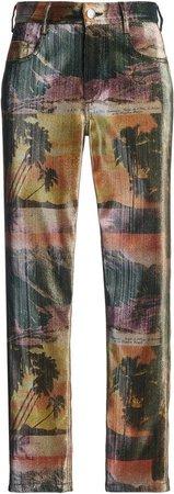 Area Printed Straight-Leg Pants