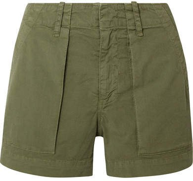 Cotton-blend Twill Shorts - Army green