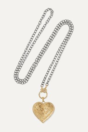 Gold Promise Heart 18-karat gold and oxidized sterling silver diamond necklace | Ileana Makri | NET-A-PORTER