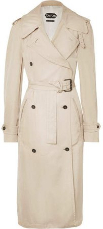 Double-breasted Leather-trimmed Twill Trench Coat - Beige