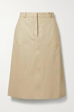 Salva Leather Midi Skirt - Beige