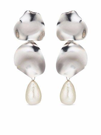 Oscar De La Renta Irregular Disk Pearl Earrings - Farfetch