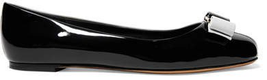 Varina Bow-embellished Two-tone Patent-leather Ballet Flats - Black