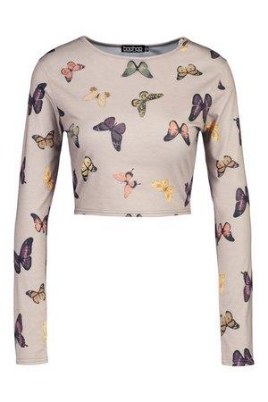 Butterfly Print Long Sleeved Crop Top | boohoo
