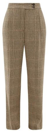 Charolette Wool Blend Straight Leg Trousers - Womens - Brown Multi