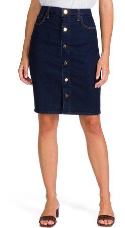 Button Front Denim Pencil Skirt
