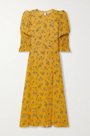 Carolena Floral-print Georgette Midi Dress - Saffron
