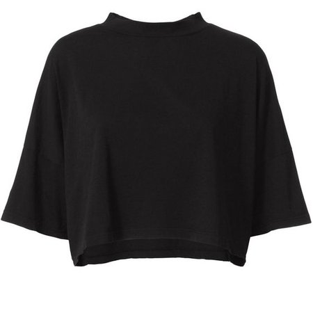 black turtleneck crop top tshirt