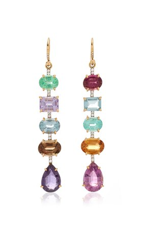 One of a Kind Tourmaline and Diamond Pave Gemmy Gem Earrings by Irene Neuwirth | Moda Operandi