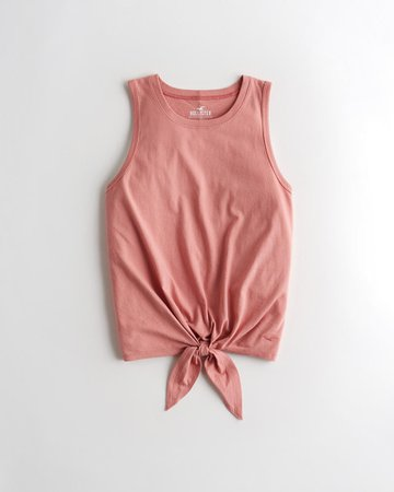 Girls Must-Have Tie-Front Easy Tank | Girls New Arrivals | HollisterCo.com pink