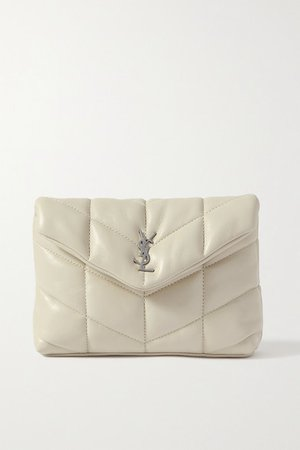 Loulou Puffer Small Quilted Leather Clutch - White
