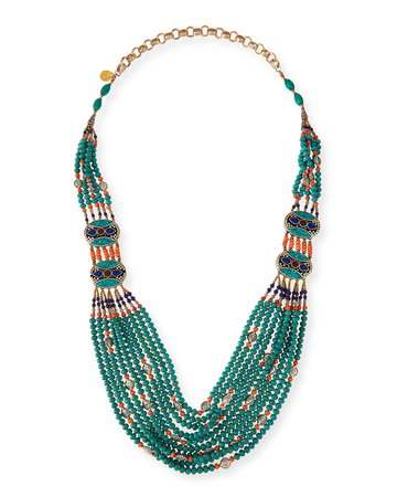 "Devon Leigh 38"" Turquoise & Coral Long Beaded Necklace"