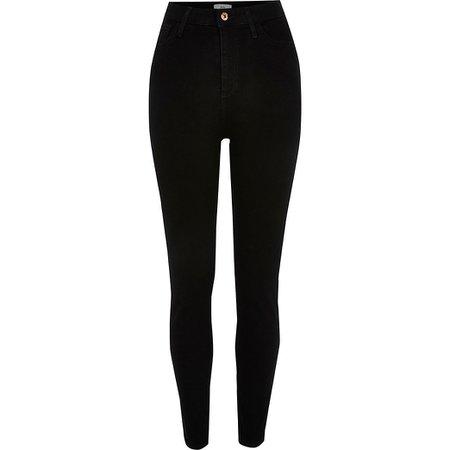 Black high waisted skinny jean | River Island