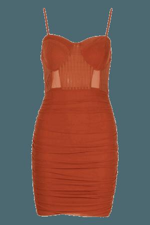 Mesh Ruched Mini Dress | Boohoo