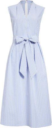 Surplice Seersucker Dress