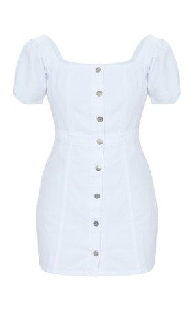 White Button Through Denim Dress | PrettyLittleThing USA