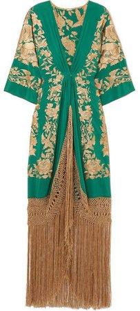 Contigo En La Distancia Fringed Embroidered Silk Maxi Dress - Green