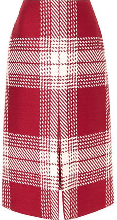 Checked Wool-blend Midi Skirt - Red