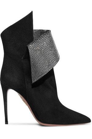 Aquazzura | Night Fever crystal-embellished suede ankle boots | NET-A-PORTER.COM