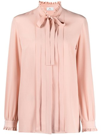 Shop pink Etro plissé-effect silk blouse with Express Delivery - Farfetch