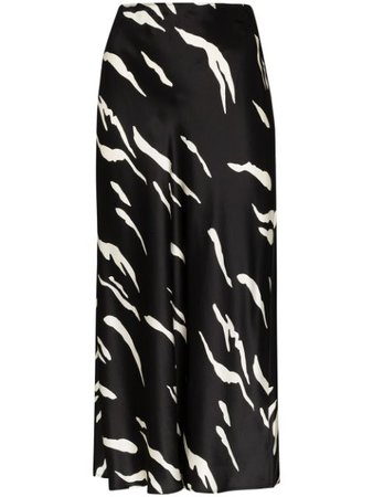 Reformation Pratt graphic-print silk-satin Midi Skirt - Farfetch