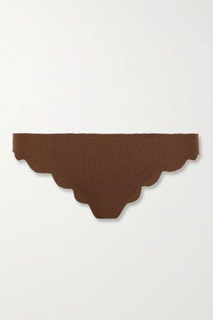 Brown Broadway scalloped stretch-crepe bikini briefs | Marysia | NET-A-PORTER